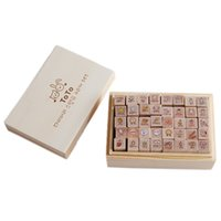 Wholesale 40pcs Set lovely rabbit Seal Stamp Different Pattern Wooden Box Diary Pattern DIY baby toy Wood Stamps ic676992