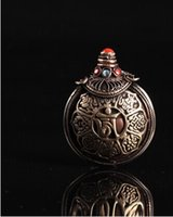 antique coral beads - FBH052440 Tibet antique miscellaneous Red coral turquoise bead Smoked antique collection Pure copper snuff bottle