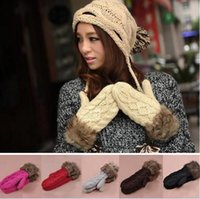 Wholesale Knitted Warm Fur Gloves for Women1Pair Hang Neck Woolen Winter Mittens