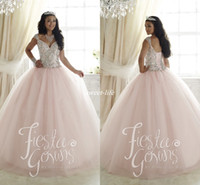Wholesale Elegant Sweet Party Quinceanera Dresses Pale Pink Ball Gown Tulle Crystals Cap Sleeves Cheap Plus Size Girls Debutante Prom Dresses