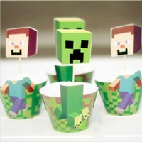 paper cupcake box - Classic Minecraft Paper Cupcake Wrappers Decorating Boxes Baking Cake Cups With Toppers Picks For Kids Xmas Birthday Party Decoration