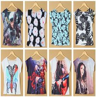 Scoop Neck blouse free size - Color Floral and Cartoon Characters Print Girls T Shirt Women Blouse plus size Summer Shirt Drop Shipping TS004