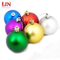 4 centímetros de Natal decoração acabamento fosco mista presente 6 cores definidas bolas de natal Adornos bola navidad artesanato suprimentos de isopor pendurados