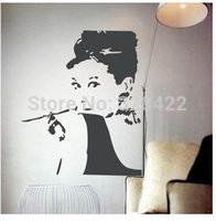 Wholesale Audrey Hepburn Home Furnishing decorative wall stickers PVC silhouette JU8