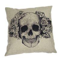 Cheap Hot Fashion Skull Linen Cotton Throw Pillow Case Bed Home Cover