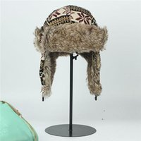 Wholesale Winter Women Trapper Cap Faux Fur Unisex Aviator Bomber Hat Earflap Vinga Helmet Outdoor Ski Protection Free Size AC003IFA