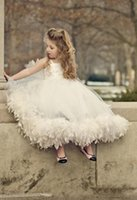 feather balls - Child Ball Gown Ivory Tulle Appliques Bowknot Feather Ankle Length Fancy Girls Puffy Dresses Children Flower Girls Dresses Spaghetti Strap