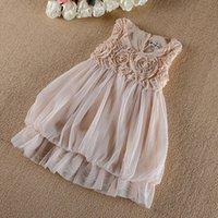 Cheap Rare Summer New Children's Dress Suspender Vest Dreses Rose Flower Lace Tulle Girls Dresses Grace Girl's Cloth Beige Pink Party Dressy A1859