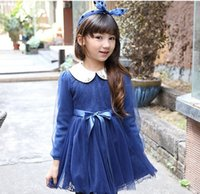 Wholesale Grace Spring Girls Dresses Beaded Collar Cotton Flower Lace Thick Dress Girl Dressy Kids Clothing DHL EMS FEDEX Free Blue Black Pink K3025