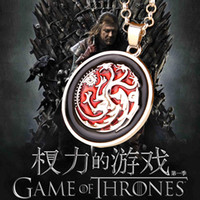animal pendants - 2016 Movie Jewelry Game of Thrones Necklace A Song of Ice and Fire Targaryen Dragon Pendant Necklaces ZJ