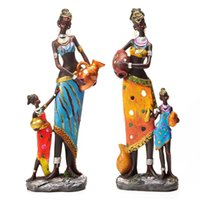 Wholesale 12 cm big size creative african lady figurine girls woman resin angel craft dolls ornament for home decoration sculpture wedding decor