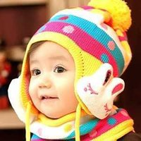 Wholesale Free ship set LOVE bunny hat scarf two piece set baby hat children hat boys and girls in autumn and winter bonnet order lt no trackin