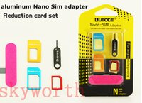 Wholesale New Aluminum Metal SIM Card Adapter Nano Slim Card to Micro Standard Slim in with SIM Card Pin For All Mobile Phone Devices in Retail