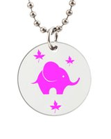 baby dog tags necklace - Purple Baby Elephant Customized Colorful Design round Dog Tag Necklace Aluminum Tag for Animal Pets Tag