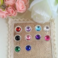 Cheap 30 pcs lot,Round Crystal Acrylic Diamante Rhinestone Embellishments For Wedding Napkin Ring Decor DIY