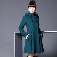 Wholesale US European stylish new wool coats double breasted turtleneck collar trench coat for women outwear plus sizes M XL