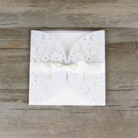 Wholesale 30pcs Lace Ribbon Bow knot Wedding Invitation Card Vintage Laser cut White Hollow Flowers Blank Inside with Envelope Ideas