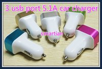 Car Chargers For Apple iPhone For US Wholesale 5V 5.1A 5100mah 3 usb port car charger for cellphone universal mobile phone & tablet pc pad fast charging multi-function charger