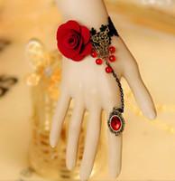 slave bracelets - Black Lace Vampire Slave Bracelet with Fabric Flower Gothic Retro Style Costume Jewelry Adjustable Whitney Houston