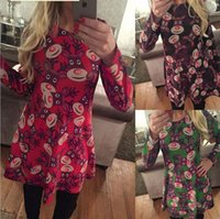 Wholesale Hot christmas dresses for women styles newest ladies Red Deer Snowman Santa Claus Printed dress clothing christmas gifts for adult