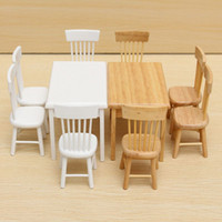 Wholesale Hot Sale Beautiful Design DIY Dollhouse Restaurant Wooden Miniature Furniture Dining Room Table And Chairs Set Colors