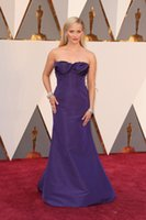 Wholesale 88th Oscar Awards Red Carpet Celebrity Dresses Reese Witherspoon Wear Strapless Ruched Floor Length Purple Prom Party Evening Gowns