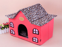 Wholesale Leopard print Cute Fabric dog tent Vintage Dog House Dog houses Fold away dog house Small House Dog Cage
