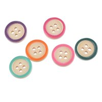 Wholesale Natural Multicolor Edge Holes Round Wooden Buttons Sewing Accessories mm