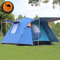 Wholesale Camel people camping tent automatic double aluminum pole outdoor camping tent multiplayer lightweight suit