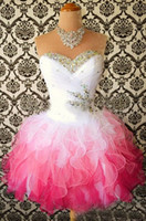 Wholesale 2015 Homecoming Dress Sweetheart With Charming Crystals And Beads Ruffel Piping Lace Up Back Short Mini Cocktial Homecoming Gowns New