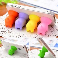Wholesale Cute Pig Stands Sucker Silicone Phone Holder Support For All Brand Mobile Phone Mp4 Mp3 Mix Color