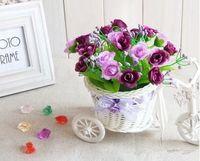 Wholesale Artificial Flowers Vases White Flowers Handmade Rattan Tricycle Bike Basket For Flower Vase Storage Decoration