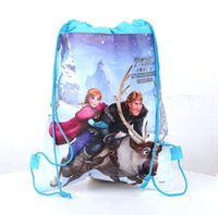 Wholesale 2015 New Arrival Retail styles frozen drawstring bags Anna Elsa backpacks handbags children kids shopping bags present