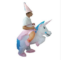 Wholesale HOT Adult Halloween Costumes Inflatable Unicorn Theme Costume Ride on Sky Horse Air Blowing Up Clothes Funny Costumes