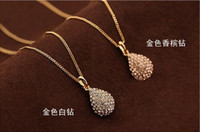 Wholesale 2015 EU Style Women sterling sliver water drop necklaces exquisite top grade pendant nacklaces plated fashionable Fine Jewelry