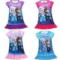 disney wholesale - 4 Children clothing Dresses summer Girls cotton Short Sleeve Cartoon Frozen dress Long t Shirt