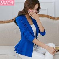 Cheap Women Slim Waist Ruffle Design Candy Color Solid Color Single Button Coat Short Blazer Tailored Suit Upper Garment