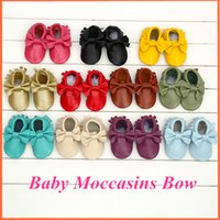 Wholesale Fashion Bow Baby Moccasins Soft moccs Baby Shoes Genuine Leather Infant Shoes Chaussure Bebe newborn shoes