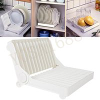 Wholesale 180 degree Foldable Dish Plate Drying Rack Organizer Drainer Sink Insert Plastic Storage Shelf Holder Kitchen Hot