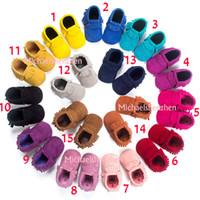 baby leather shoes - 15 Color Baby moccasins soft sole genuine leather first walker shoes baby newborn Matte texture shoes Tassels maccasions shoes B001