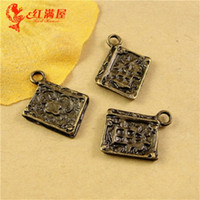 bible mobile phone - 14 MM Antique Bronze The vintage Bible book charm beads jewelry pendant accessories mobile phone DIY tibetan charms