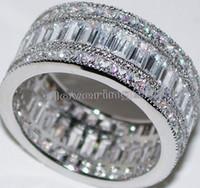 white topaz - New nice Full Princess cut white Topaz Diamonique Simulated Diamond KT White Gold GF Wedding Band Ring Sz