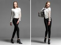 leather jackets for women - 2014 New Autumn Women Coat White Lace Stitch Leather Jacket PU O neck Lace Long Sleeve Coat Leather Jacket for women s Fashion Size S XXL