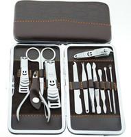 Wholesale Stone Pattern Manicure Kit set Nail Clipper Kit Nail Care Set Pedicure Scissor Tweezer Knife Ear Pick Utility Manicure Set sets
