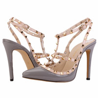 Wholesale leopard Fashion rivets shoes high heeled pointed toe hasp thin heels sandals rivet valentin pointed shoe female sandal PA