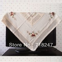 crochet table cloth - Hot Sale cm Cotton Linen Elegant Crocheted Tablecloths Floral Ribbon Embroidery Table Cloth Linen Covers