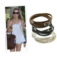 Wholesale Fashion Multi layer Rivet Winding Wrapped Leather Bracelets for Unisex with pc colors