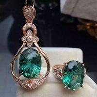 La gota al por mayor del agua forman la piedra preciosa cristalina verde micro pavimenta la joyería de la manera de la plata esterlina 925 fijada joyería determinada 2015