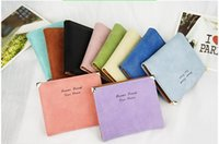 Wholesale Women s Fashion High quality Korean Candy colors Wallet leather bifold With Casual short wallet Solid credit Card Holder Handbag slim purse