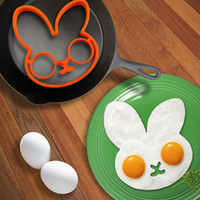 Wholesale New little white rabbit egg shaper silicone moulds egg ring silicone mold cooking tools
